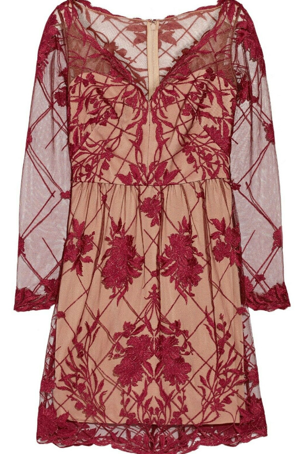 Marchesa Embroidered Lace Burgundy Red Nude Mini Dress