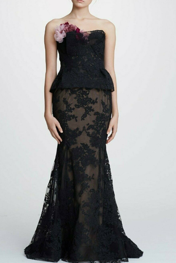 Marchesa Couture 3D Floral Corded Lace Fit Flare Black Gown