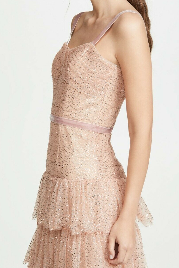 Marchesa Notte Glitter Tulle  Rose Gold Cocktail Dress