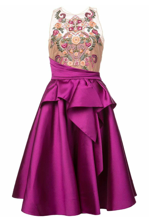 Marchesa Embroidered Top Flared Mikado Berry Pink Dress