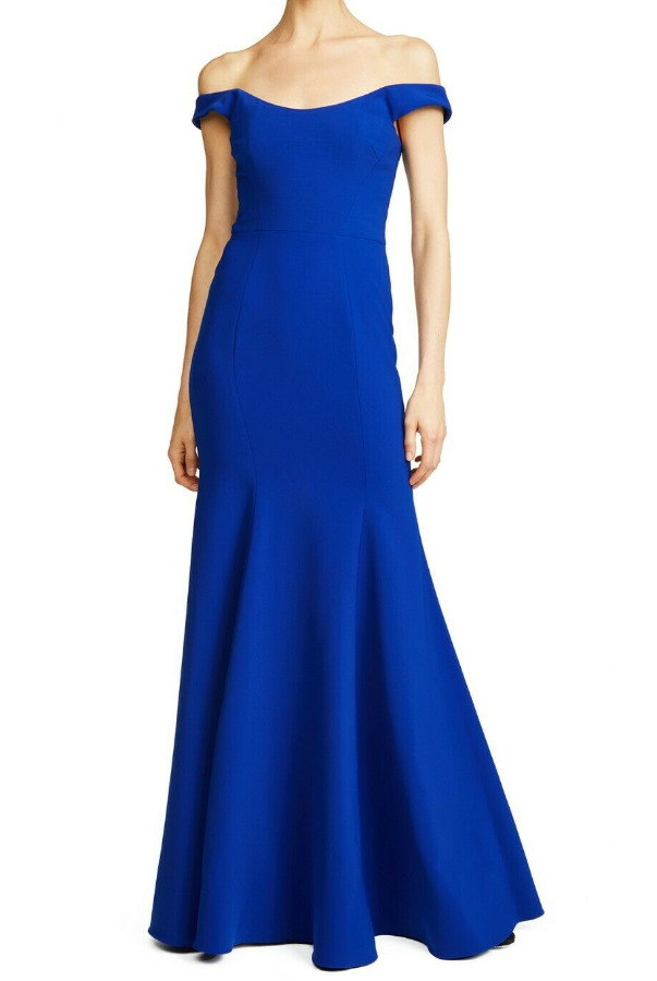 Marchesa Off the Shoulder Stretch Royal Blue Dress