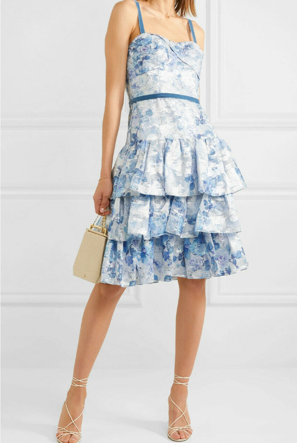 Marchesa Tiered Metallic Fil Coupe Blue White Dress