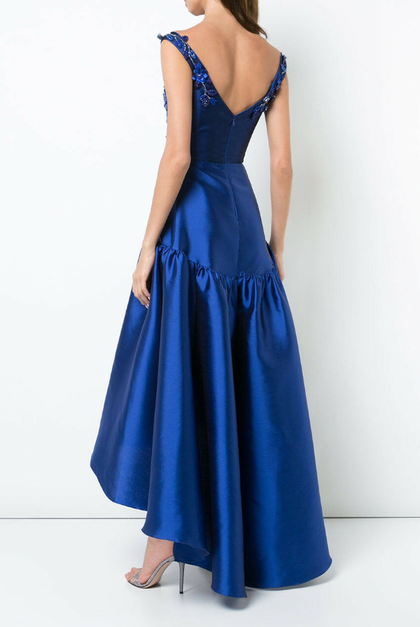 Marchesa Off-Shoulder High Low Blue Beaded Dress