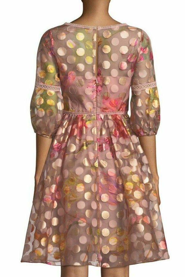 Marchesa Notte Polka Dot Bubble Sleeve Flared Blush Dress