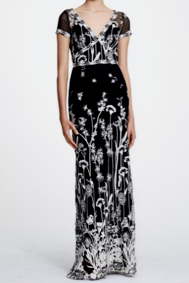 Marchesa Embroidered Guipure Lace Black White Dress
