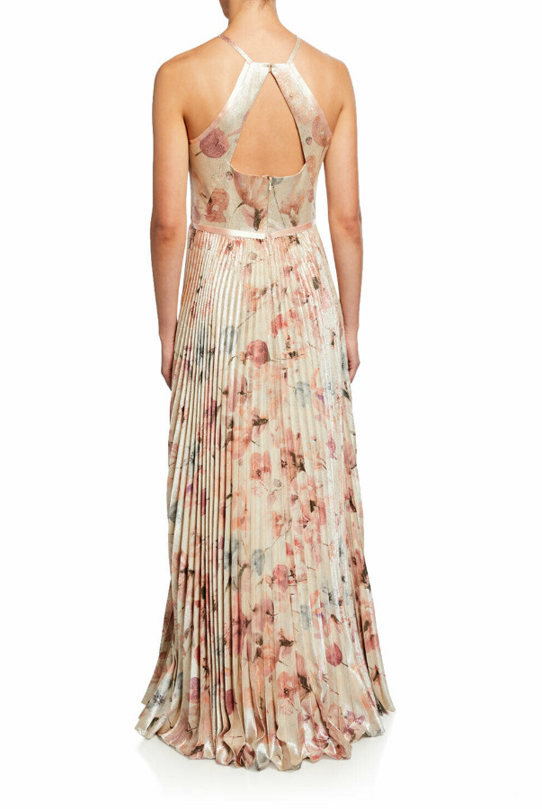 Marchesa Notte Floral Lame Halter Gown w Pleated Skirt
