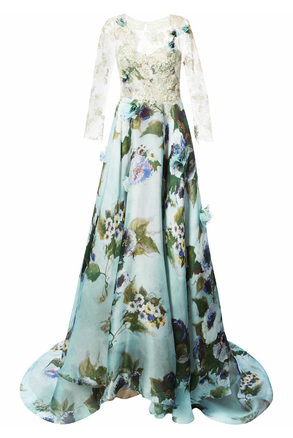 Marchesa Gold Lace Panel Flared Dusty Blue Floral Dress