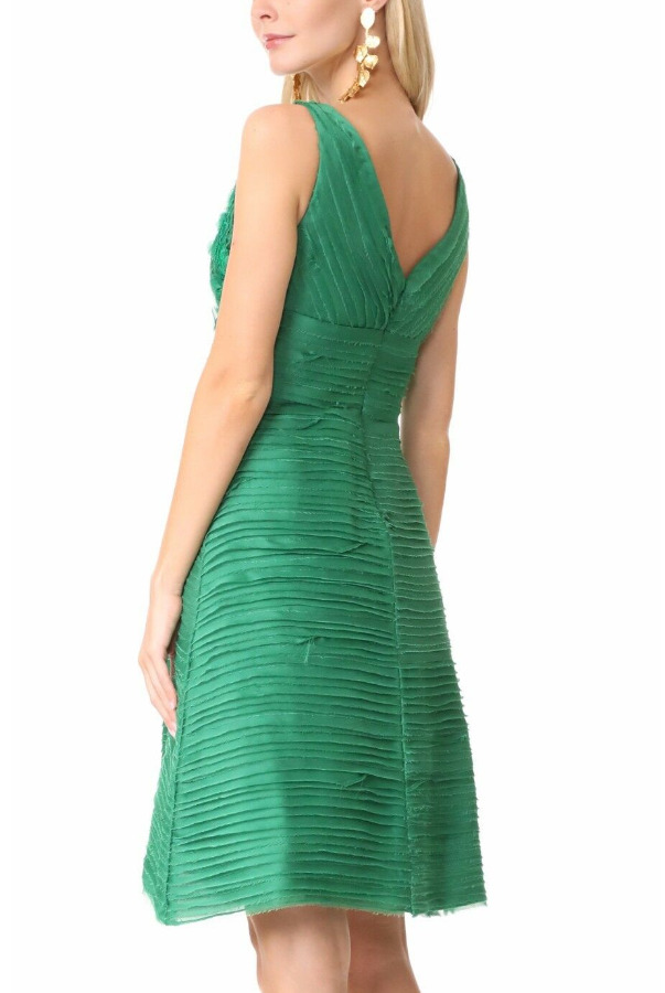 Marchesa Pleated Floral 3D Emerald Green Cocktail Dress