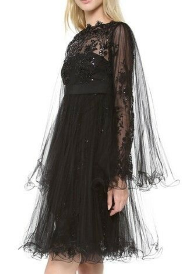 Marchesa Black w Pleated Tulle Overlay Embroidered Dress