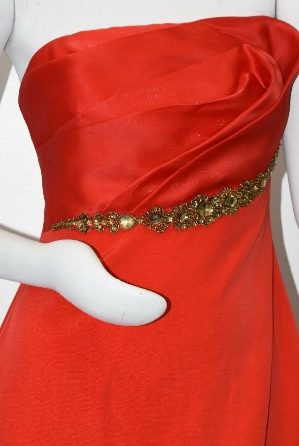 Marchesa Notte Cocktail Strapless Silk Red Jeweled Crystals Dress