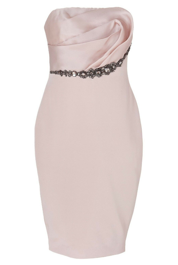 Marchesa Notte Strapless Silk Pale Pink Jeweled Crystals Dress