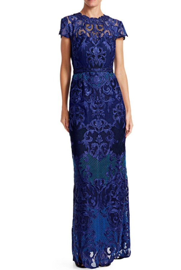 Marchesa Notte Scroll Column Lace Royal Blue Embroidery Dress
