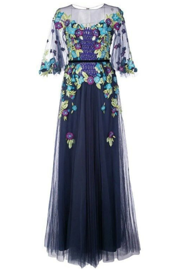 Marchesa Off-Shoulder Illusion Floral Navy Dress