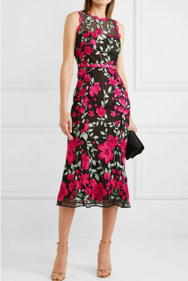Marchesa Embroidered Guipure Lace Midi Black Pink Dress