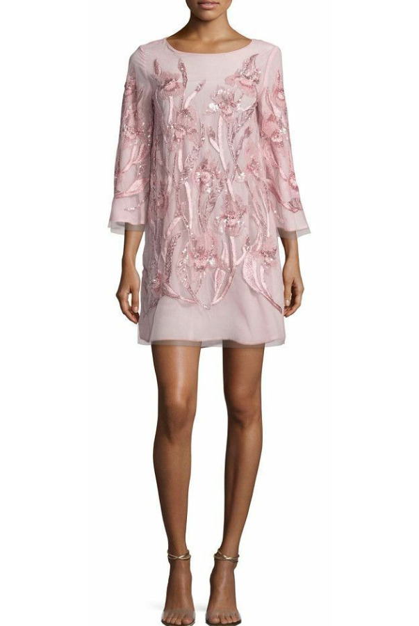 Marchesa Notte Beaded Floral Tunic Blush Pale Pink Cocktail Dress