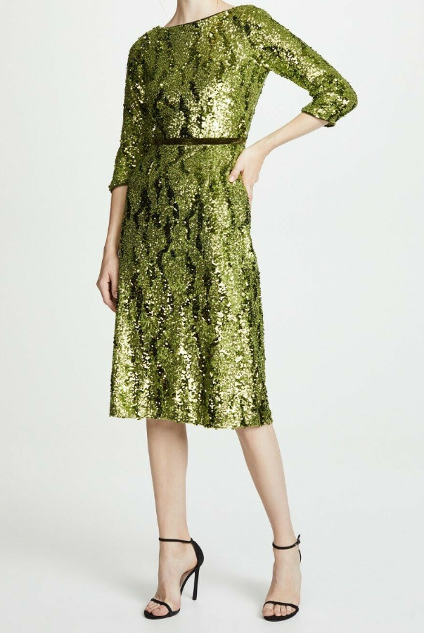 Marchesa Notte Green Solid Sequins Tea Length Midi  Velvet Dress