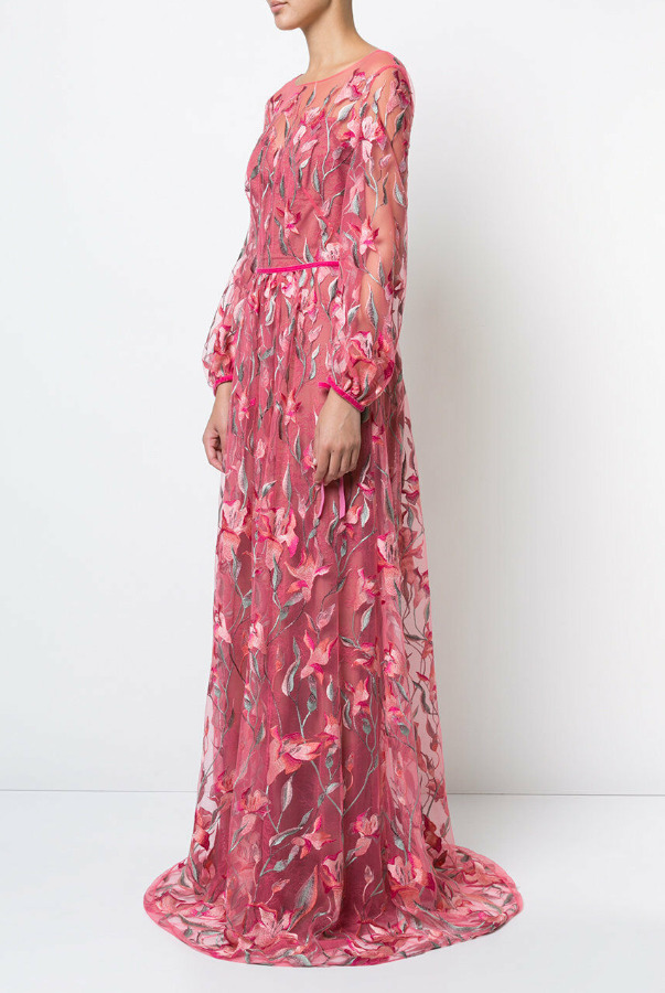 Marchesa Lace Embroidered Maxi Coral Pink Dress