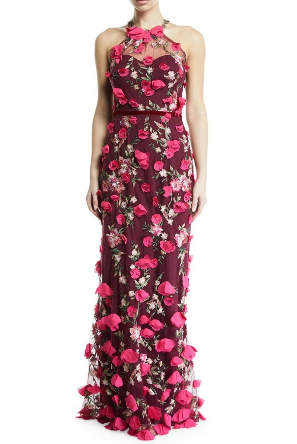 Marchesa Notte 3D Halter Embroidered Wine Pink Dress