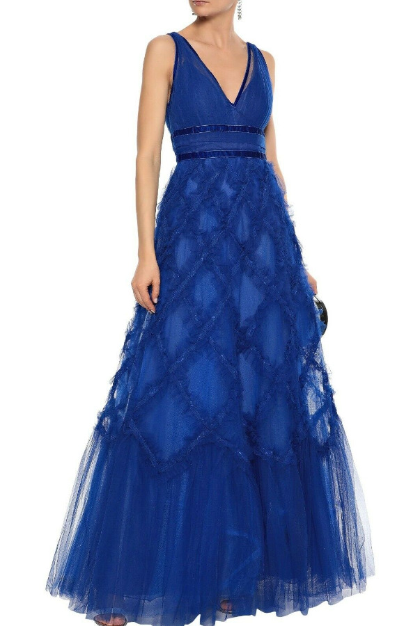 Marchesa Notte Lace Applique Ruffled Tulle Royal Blue Ball Gown