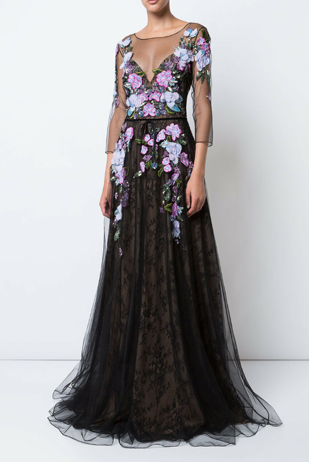 Marchesa 3D Floral Embroidered Lace Black Pink Dress