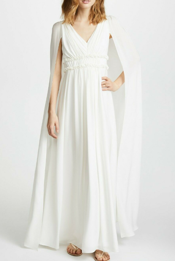 Marchesa V-Neck Georgette Cape White SILK Wedding Dress