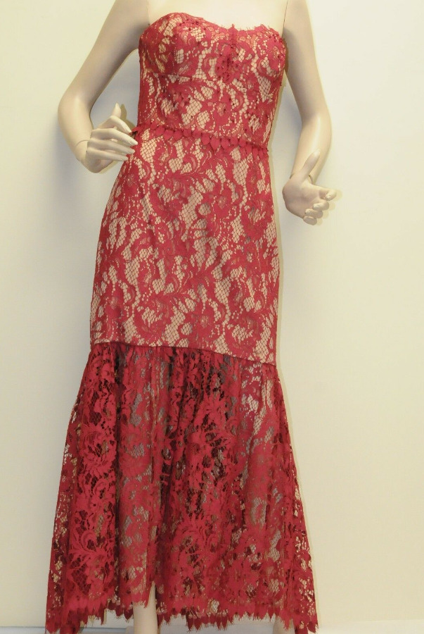 Marchesa Notte Strapless Lace Jeweled Crystals Red on Nude Dress