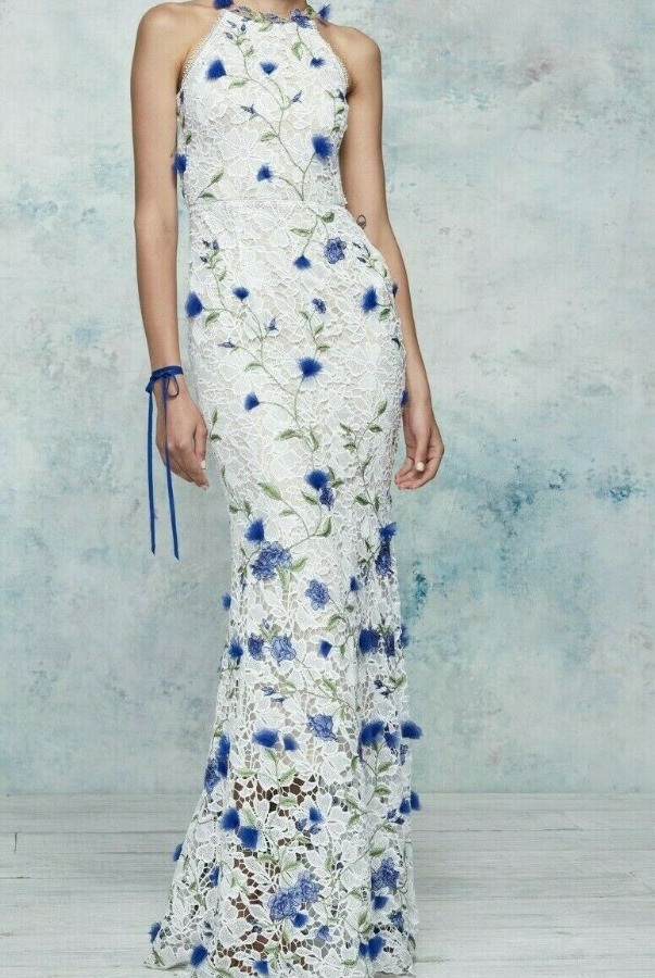 Marchesa Halter 3D Guipure Lace Embroidered White Dress