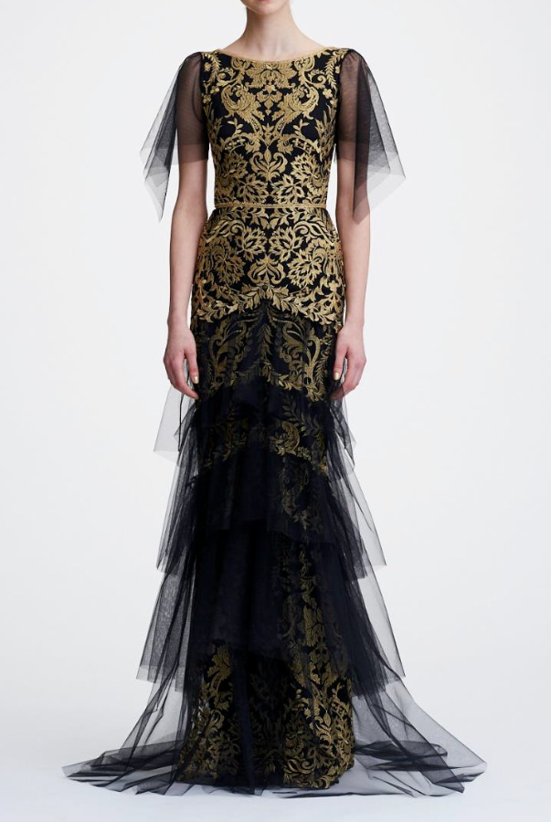 Marchesa Notte Flutter Sleeve Embroidered Lace Gold Black Dress