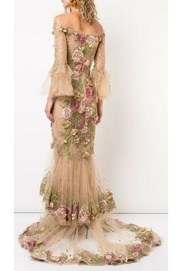 Marchesa Off the Shoulder 3D Floral Embroidered Gown Nude