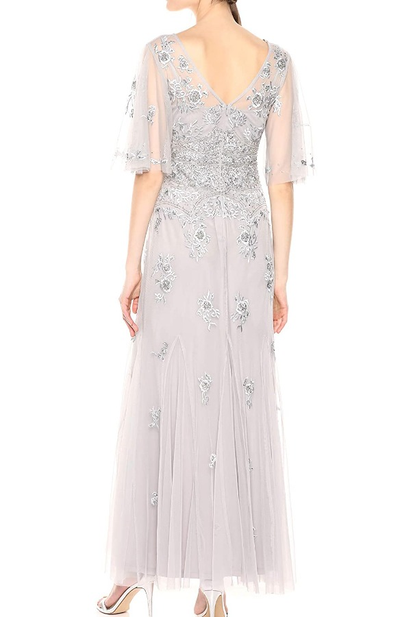 Adrianna Papell Beaded Wide Sleeve Silver Gown Bridal Dress
