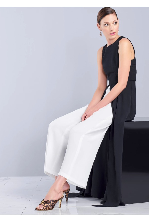 Adrianna Papell Black  White Two Tone Wide Leg Overlay  Jumpsuit