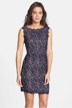 Boatneck Lace Sheath Navy Nude Dress
