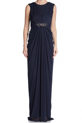 Blue Empire V-Back Gown Ink Navy Blue