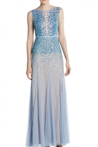 Adrianna Papell Blue Embellished Godet Gown