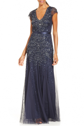 Blue Cap-Sleeve Embellished Gown