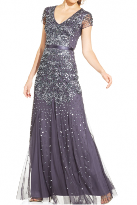 Cap-Sleeve Embellished Beaded Gown in Gunmetal