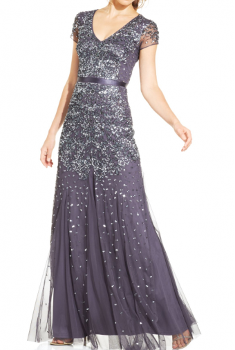 Adrianna Papell Cap-Sleeve Embellished Beaded Gown in Gunmetal