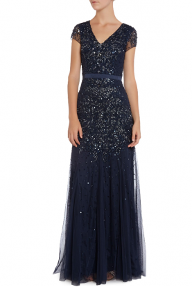 Blue Long Beaded V Neck Gown