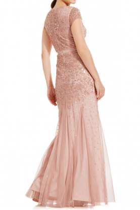 Pink Cap-Sleeve Embellished Gown