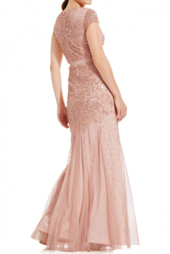 Adrianna Papell Pink Cap-Sleeve Embellished Gown