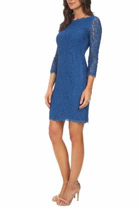 Long Sleeve Lace Sheath Cocktail Dress in Pale Blue