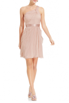Blush Pink One-Shoulder Tiered Chiffon Dress