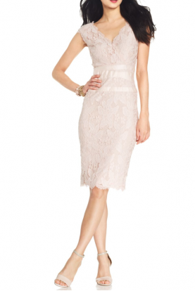 Beige Cap-Sleeve Scalloped Lace Sheath