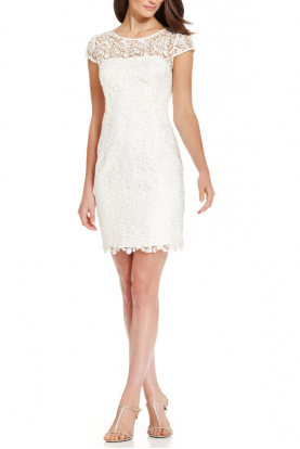 White Cap-Sleeve Illusion Lace Sheath