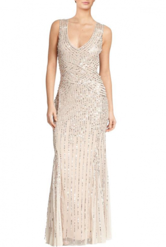 Aidan Mattox Daisy Embellished Art-Deco Evening Gown Champagne color