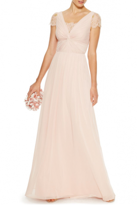 Blush Lace Twist-Front Gown