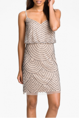 Sequined Mesh Blouson Dress Taupe Pink