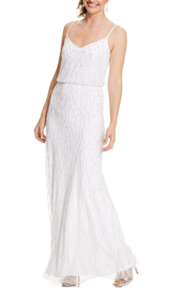 White Sleeveless Beaded Blouson Dress