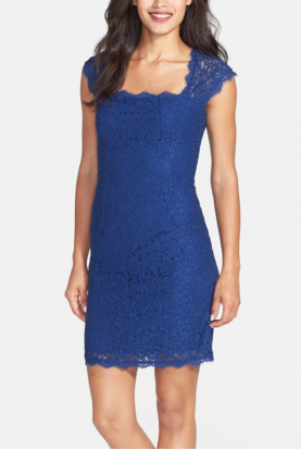 Adrianna Papell Lace Sheath Dress Cap Sleeve in Blue