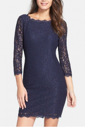 Long Sleeve Lace Sheath in Navy